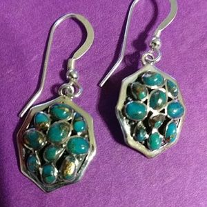 """Nwt! Sterling silver earrings and turquoise.1-1/2"""""""